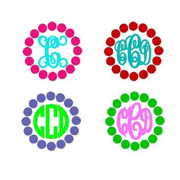 Two Color Chunky Polka Dot Framed Monogram sticker Decal