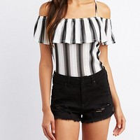 Striped Tier Cold Shoulder Top