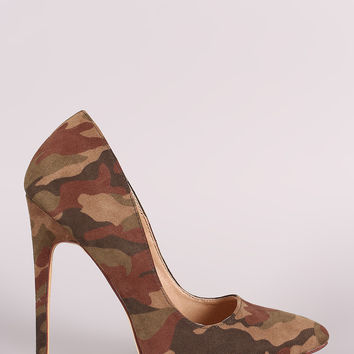 Liliana Suede Camo Pointy Toe Pump Heel