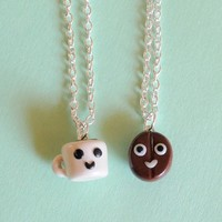 Handmade Coffee Bean & Coffee Mug Best Friend Necklaces