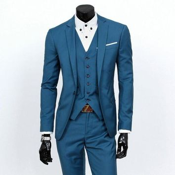 VONE05F8 Men's Slim-fit Formal 3-piece Suit, Consisting of Jacket, Vest and Pants. Elegant,  Available In A Variety of Plain Colors S 3XL