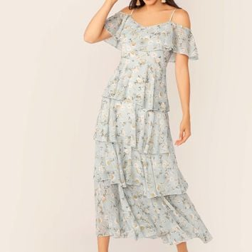 Ditsy Floral Print Cold Shoulder Layered Ruffle Dress