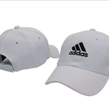 White ADIDAS Embroidered Baseball Cap