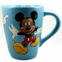 Dancing Mickey Mouse Coffee Mug 18oz Cup Blue Bubbles Disney Store k526