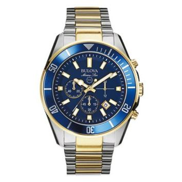 Bulova Marine Star Men's 43mm Chronograph Watch in Two-Tone Stainless Steel with Blue Dial