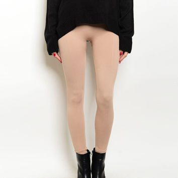 High Waist Thick Fleece Leggings in Beige