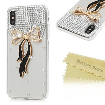 iPhone X Case, Mavis's Diary Luxury 3D Handmade Bling Full Diamonds Chic Bow Tie with Shiny Sparkle Rhinestone Gems Crystal Clear Full Body Protection Hard PC Plastic Cover for iPhone X Edition