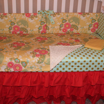 Floral, Coral, Mint  6 piece Crib Bedding Set