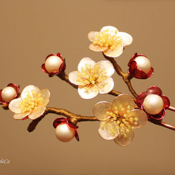 Apple Blossom Hair Pin Stick Japanese Kanzashi Resin Wedding Accessories OOAK Transparent