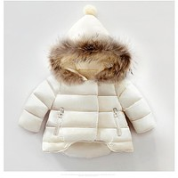kids snowsuit 2017 winter baby girls winter coat infant children clothing fur collar hooded thick jacket baby girl boy clothes