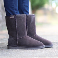 Minnetonka: Olympia Sheepskin Short Boot {Chocolate}