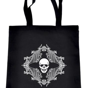 Skull Spiderweb Cameo Tote Bag Book Handbag Alternative