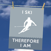 I Ski, Therefore I Am - Art Print - Fun Typography Poster for Skiers - 8 x 10 Wall Decor