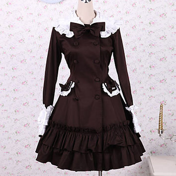 Chocolate Long Sleeve Knee-length Cotton School Lolita Dress Alternative Measures - Brides & Bridesmaids - Wedding, Bridal, Prom, Formal Gown