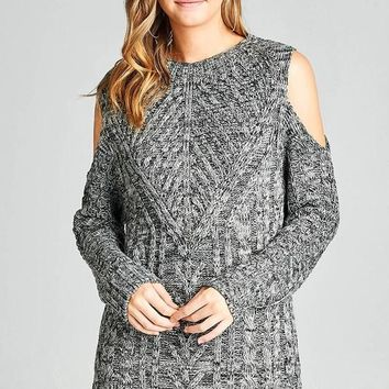 open shoulder marled cable knit sweater