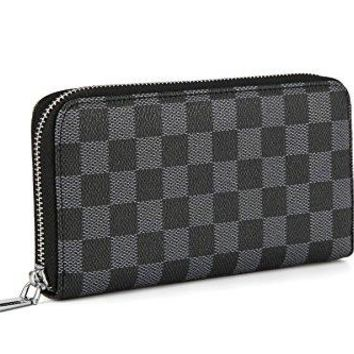 Daisy Rose Women's Checkered Zip Around Wallet and Phone Clutch - RFID Blocking with Card Holder Organizer -PU Vegan Leather, Black