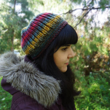 Women's knit wool hat, slouchy knit winter hat, hand knited beanie, multicolor knit cap, colorful knit wool hat, winter knit hat
