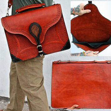 Handcrafted Leather Messenger Bag Leather Laptop Bag Leather Briefcase Bag Handtooled Leather Engraved Leather Faux Snake Skin Inlay Unisex