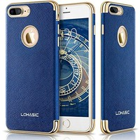 iPhone 7 Plus Case, LOHASIC [Premium Leather] Slim Fit Protective Cover [Luxury New Textured] Non Slip Soft Grip Hybrid Flexible Bumper Shockproof Full Body Cases for iPhone 7 Plus - Ink Blue, 5.5""