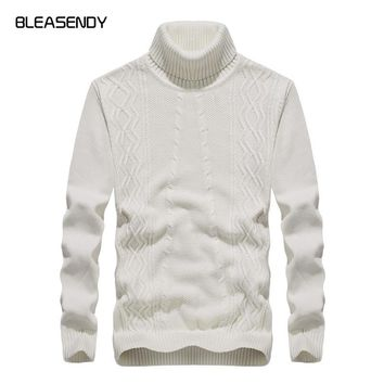 2017 Autumn Winter New Mens Turtleneck Sweater Fashion Casuals Cotton Knitted Sweater Pullover Male Black White Brand Clothing