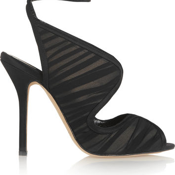 Oscar de la Renta - Suzy leather, chiffon and satin sandals