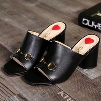 GUCCI Women Fashion Leather Slipper Heels Shoes