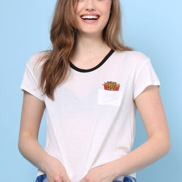 Sunday Stevens French Fries Embroidered Pocket Tee