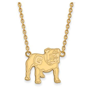 NCAA 10k Yellow Gold U of Georgia Large Pendant Necklace