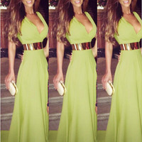 Green Sleeveless V-Neck Maxi Dress