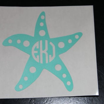 Monogram Starfish Vinyl Decal, Personalized