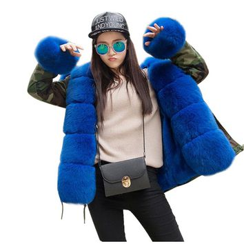 Luxury Large Fox Fur Collar Cuff Hooded Coat