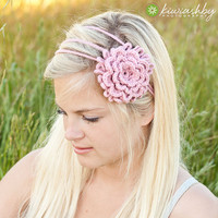 Crochet Pattern 3 Flower Chain Headband