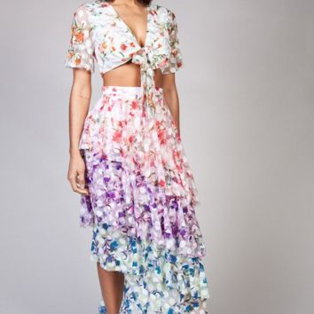 TIERED FLORAL 2PC. SKIRT SET