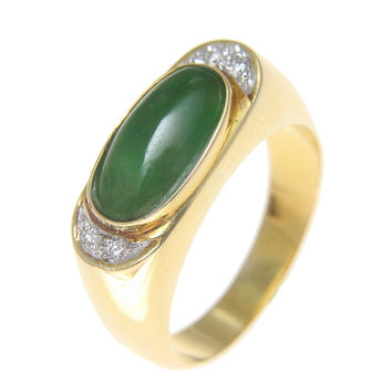 GENUINE NATURAL GREEN JADE JADEITE & DIAMOND RING SET IN SOLID 18K YELLOW GOLD