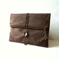"""Clutch """"L'Enveloppe"""", handbag, Metallic old gold linen, fold over clutch,and FAUX SUEDE, tree pendant, Ready To Ship."""