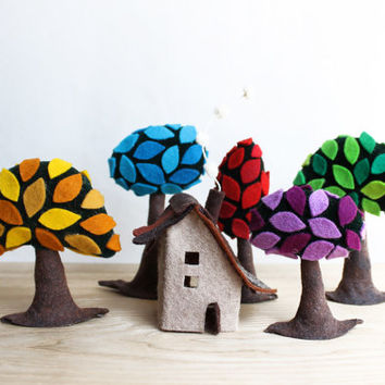 Colorful forest with a small shelter. Miniature