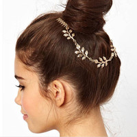 Crazy Feng Fashion 18k Gold Plated Leaf Hair Comb Clip Cuff Tassel Chain Head Headpiece Women Hair Jewelry For Party Wedding