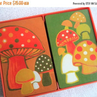 ON SALE Mushroom playing cards/ vintage double deck set/ Hallmark plastic coated cards/ two complete decks of cards in box/ orange/ green mu