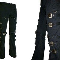 Steampunk Gothic Pants Bronze Silver Cargo Buckles Punk Bondage - Made in Japan