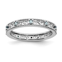 Sterling Silver Stackable Expressions Genuine Light Aquamarine Filigree Ring