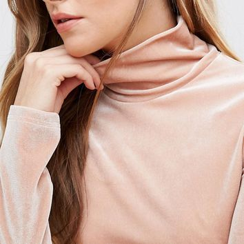 Fashion Union Velvet High Neck Top at asos.com