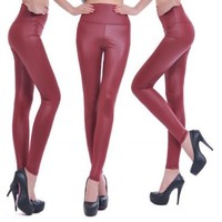 Buy Home 19 Colors High Waist Leather Skinny Leggings Pants Tights Full Treggings (XS, Army Green)