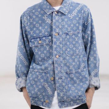 LV Louis Vuitton X Supreme Fashion Unisex Distressed Denim Long Sleeve Print Cardigan Jacket Coat I