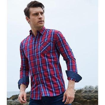 Long Sleeve Denim Plaid Checks Casual Shirts