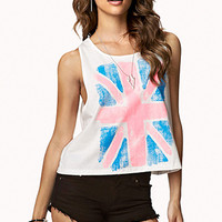 FOREVER 21 British Flag Cropped Tank Cream/Pink Large