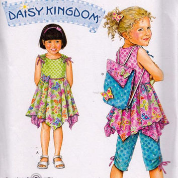Simplicity 2716 Girls Daisy Kingdom Dress, Top, Capri, Backpack, Sizes 3 - 4 - 5 - 6 - 7 - 8, Sewing Pattern, New, Uncut, Factory Folds
