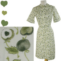 Dress Vintage 60s Green APPLE Novelty Print Fruit Shirt Dress M 50s Shirtdress Mad Men