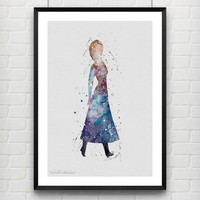 Princess Anna Disney Frozen Watercolor Art Print, Princess Room Wall Poster, Minimalist Home Decor, Not Framed, Buy 2 Get 1 Free! [No. 113]