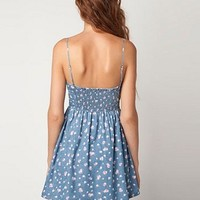 RETRO FLORAL DENIM SKIRT WITH SHOULDER-STRAPS DRESS