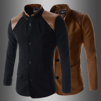 Men's Tunic Style Wool Blazer Jacket with Leather Patch
